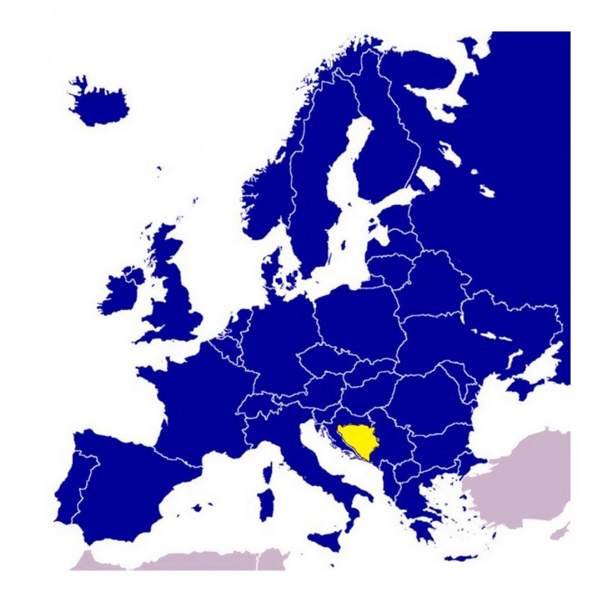 Bosna A Hercegovina Mapa Evropy Mapa Bosny A Hercegoviny Evrope