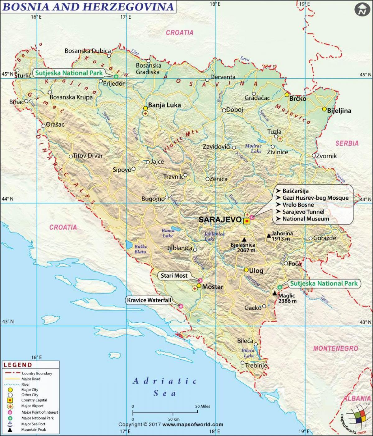 Mapa Bosny A Hercegoviny Bosna A Hercegovina Mapa Jizni Evropa